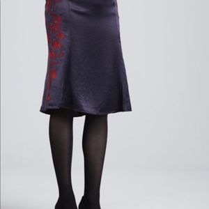 Tory Burch Uma Embroiderod satin skirt